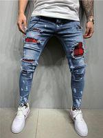 Мода Высочайшее Качество Мужские Вышитые Карандаш Джинсы Эластичные Хлопковые брюки Джинсы Джинсы S-3XL