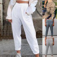 Женская осень зима свободных тканей брюки сплошные цветные эластичные Drawstring Sportpants Pajamas Высокие талии штаны Ноговые женские капризы
