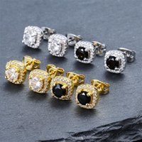 Mens Hip Hop Stud Earrings Jewelry High Quality Fashion Round Gold Silver Black Diamond Earring For Men 3425 Q2
