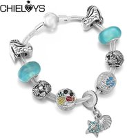 Charm Bracelets Summer Style Silver Plated Multi-layer Chain Bracelet With Frog Starfish Shell Beads For Women Kids Jewelry Gift