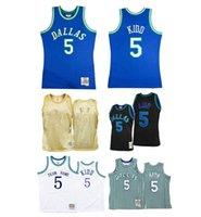 Özel S-6XL Erkek Kadın Gençlik Dikişli Basketbol Formaları 5 Jason Kidd Jersey Siyah Beyaz Mitchell Ness 2010-11 Sert Ağaçları Klasikler Retro Giyim