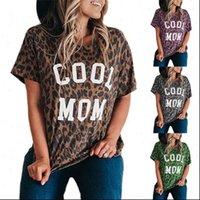 Damen Tops Cooles Mutti-Brief Leoparden-gedruckt Kurzarm T-Shirt Frauen Mode Sommer Lose T-Stück Sexy Shir