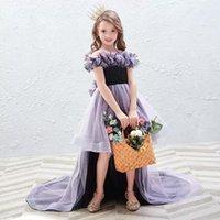 Blumenmädchen Kleid Illusion Oansatz Kurz von der Schulter Appliques Prinzessin Knielange Pailletten Tüll Spitze Kinder Partykleid H471 Mädchen DRES