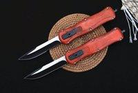 Hot! 166 Automatic Tactical Knife 440C Single Edge Two-tone Blade Zn-al Alloy + Wood Handle EDC Pocket Knives With Nylon Bag