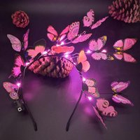 Women Girls Butterfly LED Light Up Fairy Tale Headband Retro Hair Hoop Festival Wedding Bridal Glow Party Props Favor