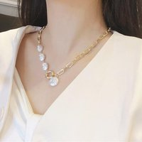 Korean Baroque Irregular Pearl Necklaces For Women Punk Gold Color Geometric Thick Chain Choker Necklace 2021 Trendy Jewelry Pendant