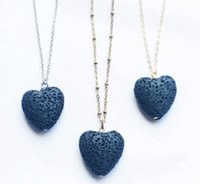 Heart Lava Rock pendant necklace 9 colors Aromatherapy Essential Oil Diffuser Heart-shaped Stone Necklaces For women Fashion Jewelry Wholesale