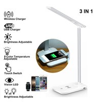 3 In 1 LED Lamp Table Desk 2000mA Battery Multifunction Phone Wireless Charging Pad Charger Holder Stand Foldable Desktop Light