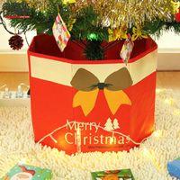 Christmas Decorations Non-woven Storage Box Multifunctional Durable Tree Skirt Folding Snowmen Base Xmas Foot Cover Decor