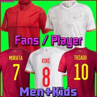 2021 Espanha Jersey Camiseta España Morata Rodrigo Torres Pedri 20 21 Copa Europeia Ramos Thiago Iniesta Alba Football Shirts Homens + Kit Kit Fans Versão do Jogador