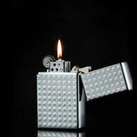 Metal Retro Flint Gasoline Lighter Grinding Wheel Oil Free Lighter Refillable Kerosene Lighters Gadgets for Man