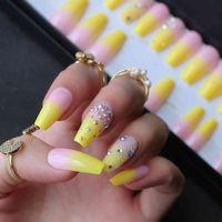 Citron jaune français ombre cercueil gel brillant gel faux strass brillant ongles de ballet glacé faux ongles cristal art design caviar match
