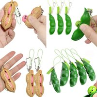 Fidget peanut pea poppers squishes squeeze toys dimple Key chain Stress Relief key ring anti ADHD vent balls toys Squeeze DHL Free FY2707