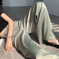 Женские брюки CAPRIS CHOHILL-IFASHION Store летние женщины Брюки Шелковый атлас с твердым цветом Раздел Свободная прямая нога
