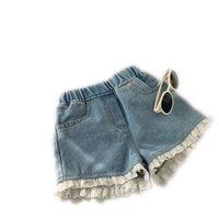 Şort 2021 Kore Tarzı Yaz Çocuk Kız Elastik Bel Denim Cep Dantel Pantolon Çocuk Rahat Moda Giysileri 1543 B3