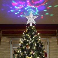Decoración de fiesta S LED Árbol de Navidad Penta Forma de estrella Rotatable Muñeco de nieve Copo de nieve Lámpara de proyección