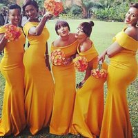 Cheap Nigerian African Arabic yellow Mermaid Bridesmaid Dresses Off Shoulder Floor Length Maid of Honor Gowns Evening Dresses Plus Size