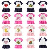2021 Summer Girls New Skirt INS Tiktok Baby Girls Dresses Cartoon Love Fruit Casual Dress Children's Princess Skirt Long T-shirts Students Sports Gym Dresses G62CDVU