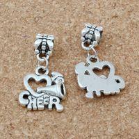 150 sztuk Cheerleaderka Serce Uwielbiam Cheer Handmade Metal Charms Zawieszki DIY biżuteria akcesoria A-660