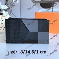 카드 홀더 카드 신용 여권 홀더 2021 Hotsale 도매 남성 여성 패션 원래 블랙 가죽 ID 카드 소지자 클래식 패턴 솔리드 컬러 plaidsolid
