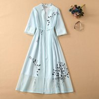 European and American catwalk dress printed V- neck elastic w...