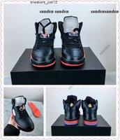 Serie 5 Bred Blades Black University Red Basket Scarpe per uomo 136027-006 Alta qualità 5s raso da uomo Athletic Sports Sneakers con scatola