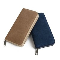 Wallets Fashion Canvas Mens Wallet Long Clutch Cell Phone Handy Bag Zipper Around Solid Coins Purse Brown Blue Black