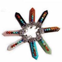 Luxo Designer Colar Natural Gemstone Sword Forma Criativo Pingente 7 Cor Cristal Chakras Reiki Cura Jóias Ametista Rosa Quartzo Moda Charme