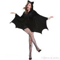Cadılar bayramı Kadın Cosplay Vampir Yarasa Kostüm Seksi Kadınlar Yetişkin Cosplay Siyah Tulum Connect Wings Batman Elbise ve Çorap Hediyeler