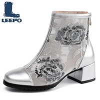 Boots Women Summer Cow Leather Embroidery Net Perforated High Heels Booties Woman Ankle Feminine Hollow Mesh Shoes 2021