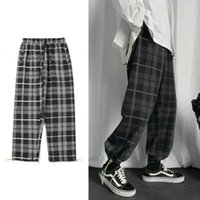 Men's Pants Plaid Casual Harem Korean Man 2021 Loose Ankle-Length Trousers Harajuku Streetwear Joggers Male Clothing