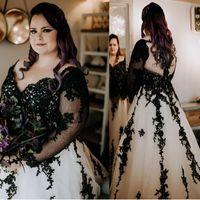 Vestido de casamento preto e branco plus tamanho para tamanho grande tamanho sem costas chão com longos vestidos nupciais personalizados