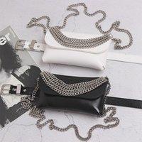 Luxy Moon PU Cuir Sac de taille pour femme Noir Blanc Retour Punk Style Chaîne en métal Petite épaule Messenger ZD1721 Sacs