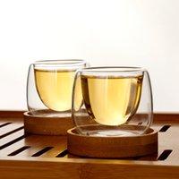 6 adet Çift Duvar Cam S Teaceups Bambu Tutucu Anti Sıcak Tasse Cafe Küçük Espresso Kahve Oolong Pu'er Çay Bardağı Tazas Copo