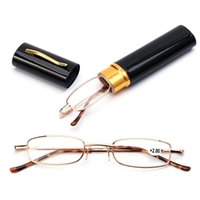 Sunglasses Unisex Reading Glasses Portable Pen Tube Presbyopic Metal Frame Eyewear Men Women Case +1.00~+4.00