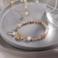 Charm Bracelets Fashion Elegant Agate Bangles Pearl Amethyst Quartz Personalized For Women Simple Design Jewelry Gift