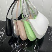 패션 핸드백, 럭셔리 디자이너 최신 모델, 숙녀 겨드랑이 가방, 송아지 가죽 소재, 흰색 금속 하드웨어 및 먼지 가방