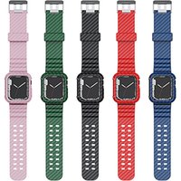 Carbon Fiber Case And Strap For Apple Watch 45mm 44mm 42mm 40mm 38mm bands Sport Wristbands Bracelet IWatch Series Se 7 6 5 4 3 Watchband Anti Fall Shockproof