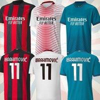 4XL مراوح المشجعين نسخة AC كرة القدم ميلان بالري. الفانيلة 2020 2021 Ibrahimovic Tonali Mandzukic Kessie Kid Kid Kits قمصان تدريب كرة القدم