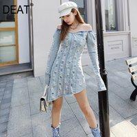 Femmes Blue Hole Vintage Robe à manches longues Denim High Wasit Fashion Trend Automne et été SF489 210421