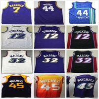 Retro Vintage Klasik Basketbol Formaları John 44 Tabanca 12 stockton Karl 32 Malone 44 Tabanca Pete 7 Maravich NCAA Donovan 45 Mitchell Jersey
