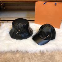 공 모자 양동이 모자 Stingy Brim 모자 패션 모자 패치 워크 가죽 핀 디자인 남자 여자 2 스타일 높은 품질