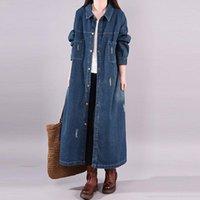 Big Size Loose Single Breasted Denim Trenchcoat Women Vintage Effects Color Long Windjack Women's Vest Upper Trench Coats