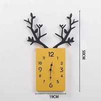 Christmas Living Room Home Decoration Resin Craft Work Elk Dear Antler Shape Wall Clock Clocks