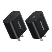 Choetech 20W USB C شاحن (2-حزمة) تسليم الطاقة شاحن الجدار PC حريق VO المواد التوافق العالمي -Black