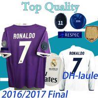 Breve manica lunga 2016 2017 U C L League Finals Soccer Jersey 16/17 Real Madrid Home Soccer Jerseys per 3 Jun Ronaldo Uniforme da calcio