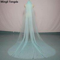 Bridal Veils Mingli Tengda 300cm*150cm Sky Blue Wedding Veil Cut Edge Two Layer Cathedral With Comb Elegant Accessories