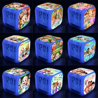 Cocomelon Ji 7 Colori a LED Cambiare la sveglia digitale Scrivania Scrivania Gadget Termometro Night Glowing Cube LCD Light