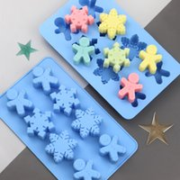 Baking Moulds 8 Even Snowman Gingerbread Shape Food Grade Silicone Cake Mold Manual Chocolate Candy DIY Biscuit Jelly Ice Mould Bakeware Kitchen And Bar Tools