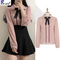2021 Spring Womens Cute Tops Preppy Style Vintage Japaneses Korea Design Button Elegant Formal Shirts Blouses Pink White 12021